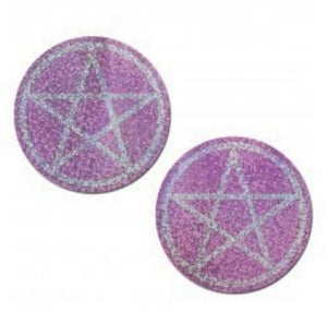 Reusable Nipple Pasties Pink Pentacle Holographic
