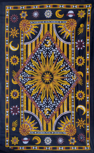 Celestial Sun Star Maroon & Gold Border Twin Tapestry