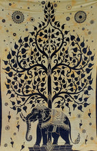 Tan Elephant Tree of Life Tapestry - Size Twin