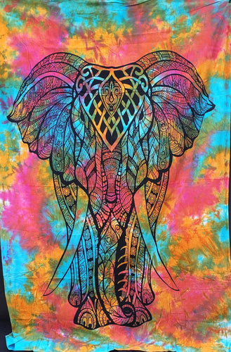 Tie-Dye Rainbow Elephant Twin Tapestry