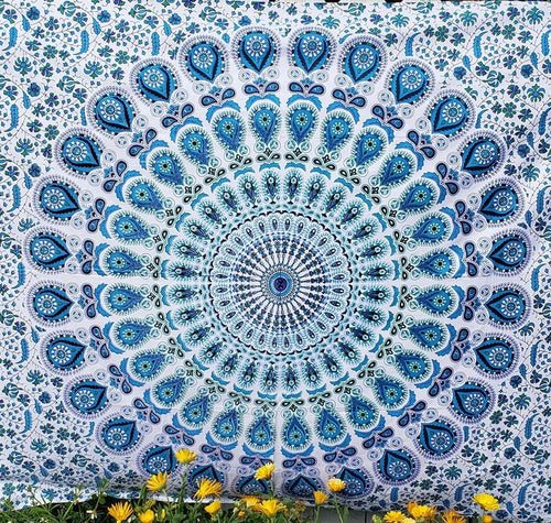 Blue Mandala Peacock Feather Tapestry - Size Twin