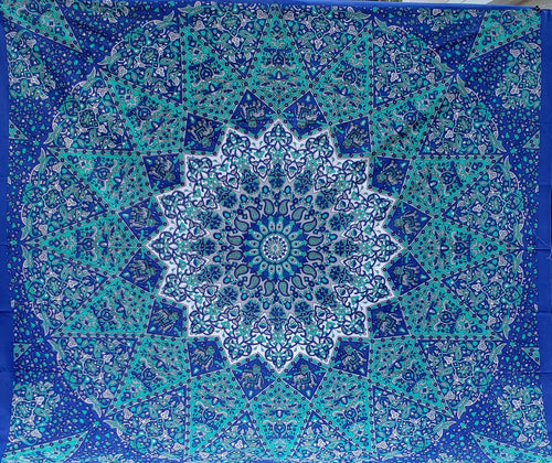Blue Elephant Mandala Queen Tapestry