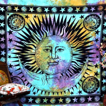 Blue Tie-Dye Sun Moon Queen Tapestry