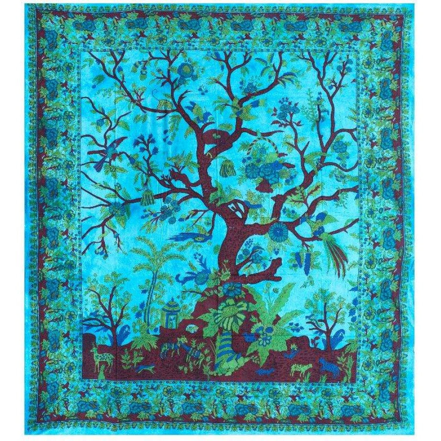 Blue Tree of Life Queen Tapestry