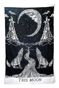 Black & White Moon Tarot Tapestry - Size Twin