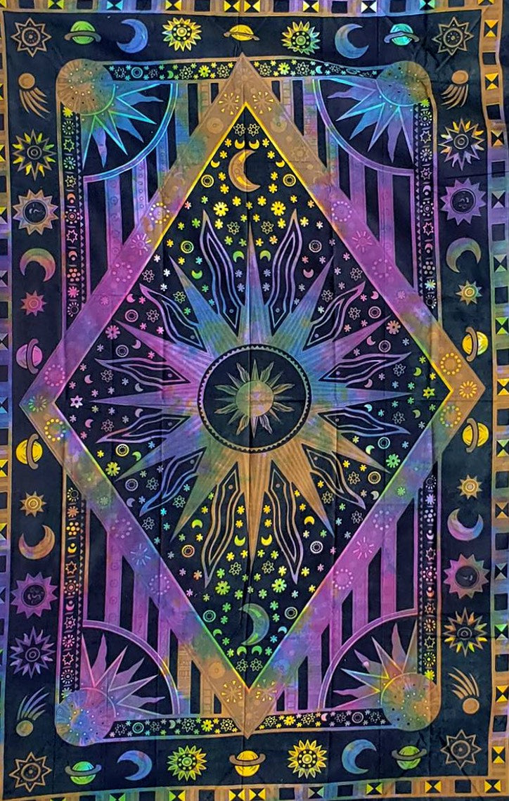 Psychedelic Celestial Rainbow Tapestry - Size Twin