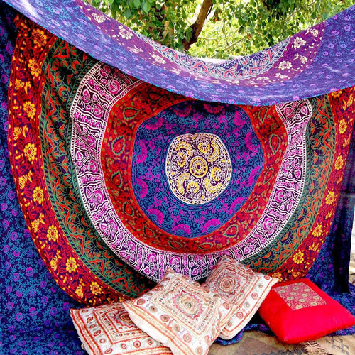 Purple Floral Mandala Tapestry