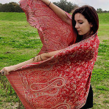 Red Gold Pashmina Scarf