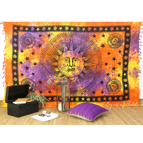 Warm Tie-Dye Sun Moon Tapestry - Size Twin