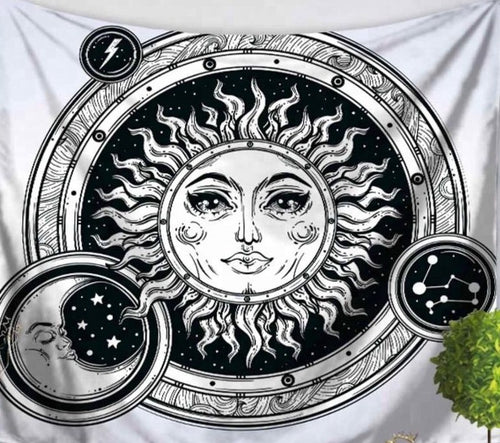 Celestial Sun & Moon Bubbles Tapestry