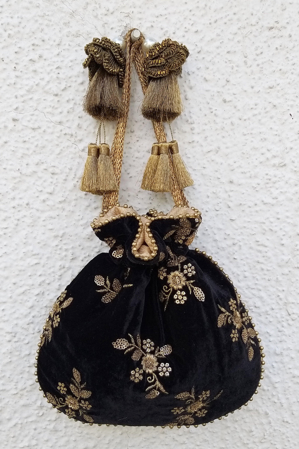 Black velvet embroidered potli