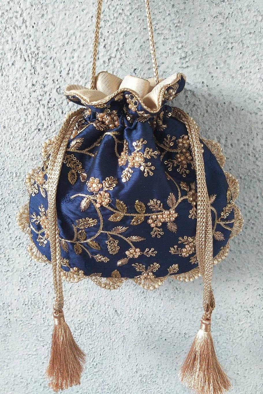 Navy pearl embroidered potli