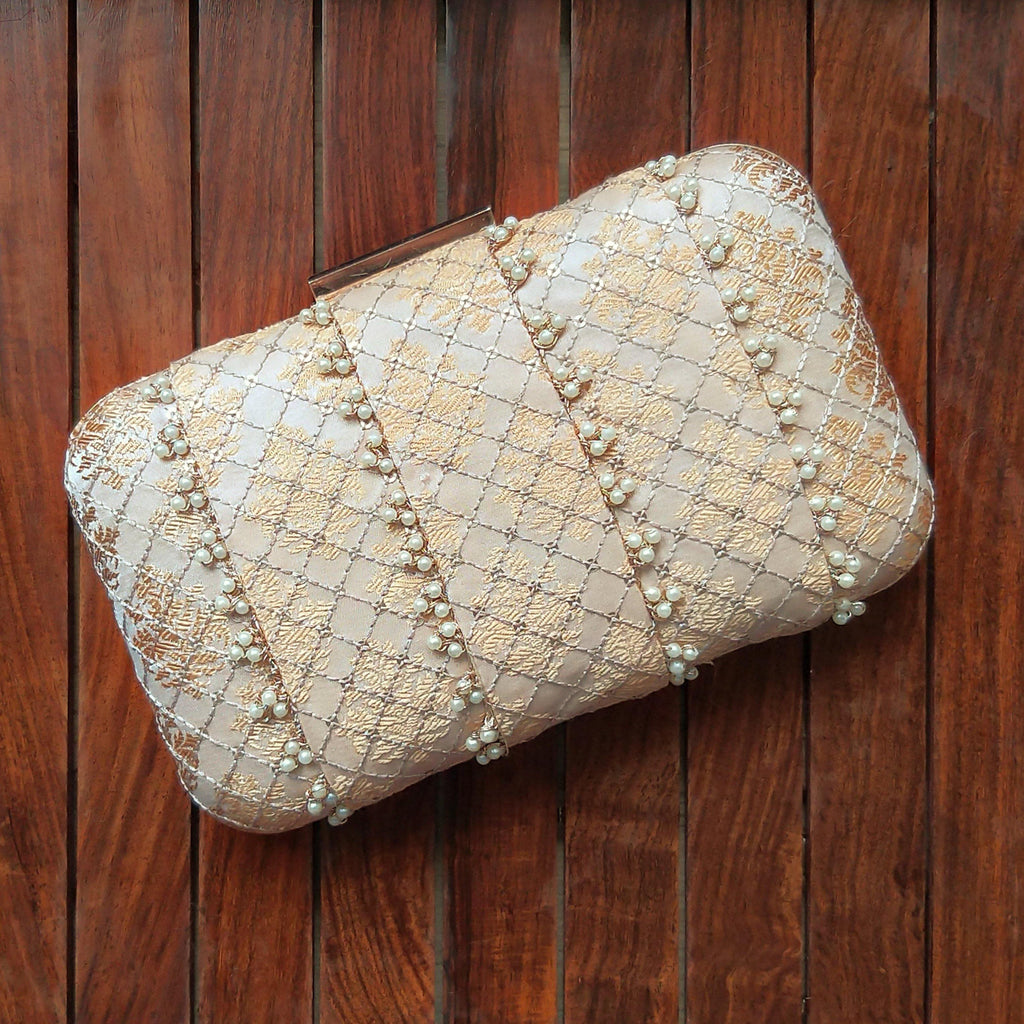 Cream Banarasi pearl clutch