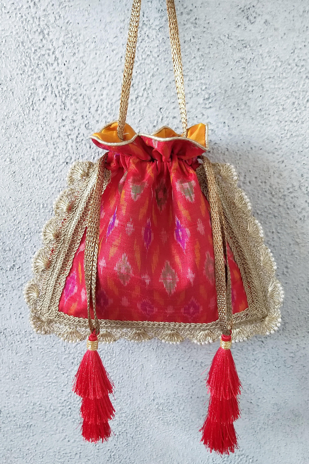 Red Ikat Silk potli