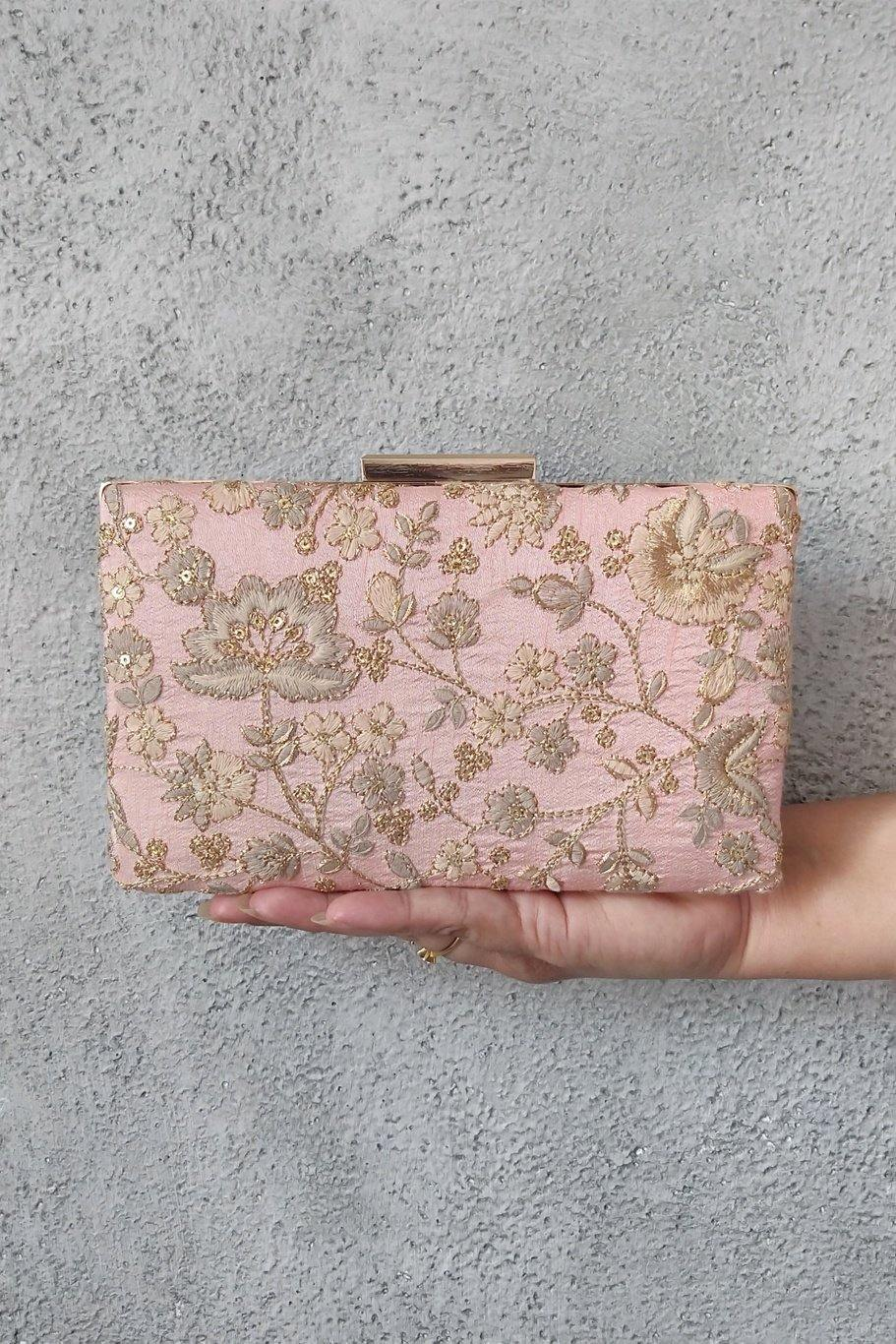AMYRA Leya Embroidered Clutch With Sling - Peachy Pink