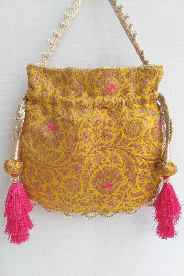Kashi - Yellow Pure Banarasi Silk Potli bag - AMYRA