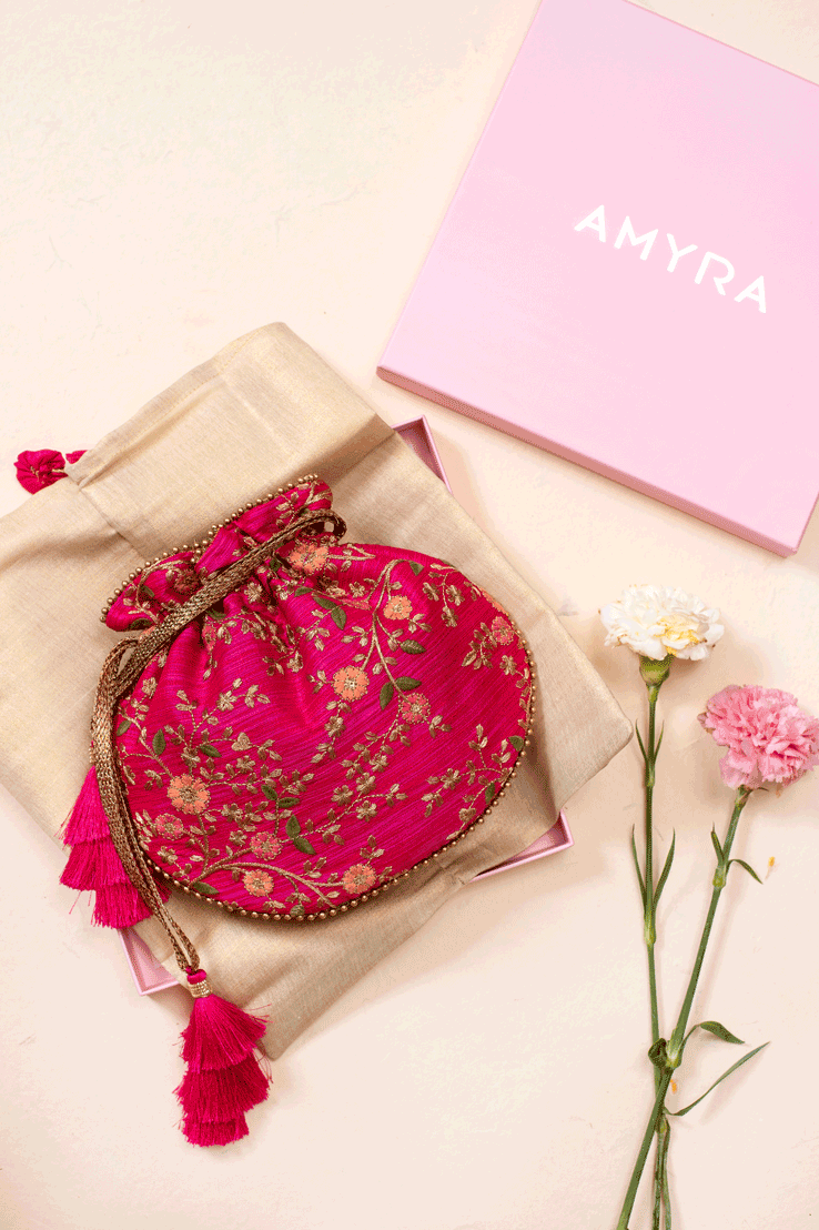 Floral Creeper Pink Potli bag - AMYRA