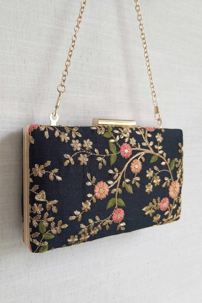 Floral creeper box clutch - Black - AMYRA