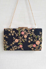 Floral creeper box clutch - Black