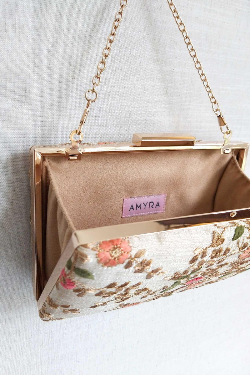 Floral creeper box clutch - Cream