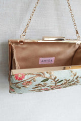 Floral creeper box clutch - Mint