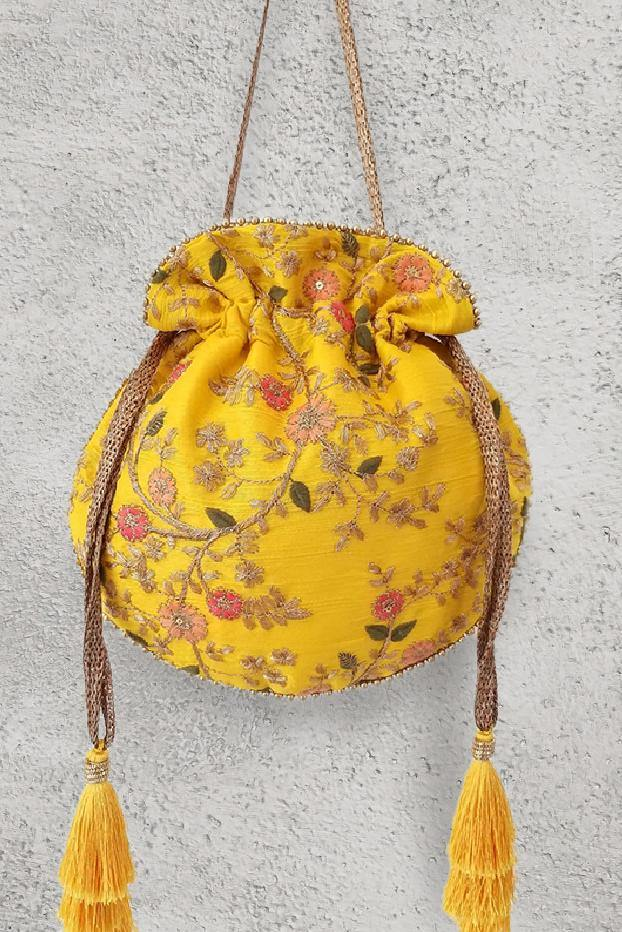 AMYRA Floral Creeper Potli Yellow