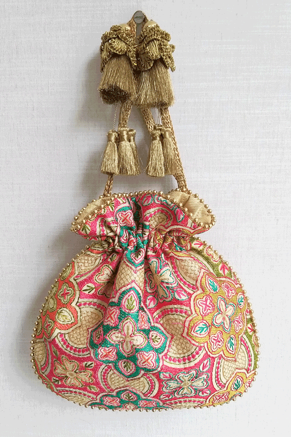 Amna Embroidered Potli bag - Cream - AMYRA
