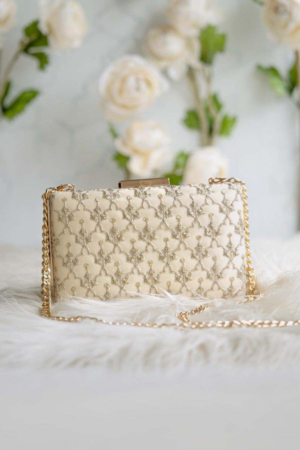 Anya Box Clutch - Cream and light gold - AMYRA