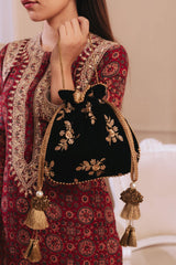 AMYRA Black Velvet Embroidered Potli