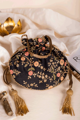 Floral Creeper Black Potli bag - AMYRA