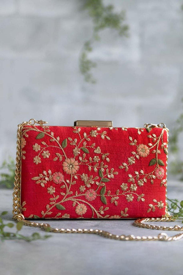 Floral creeper box clutch - Red - AMYRA