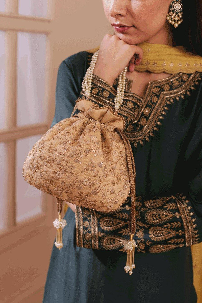 Gold Floral Embroidered Potli