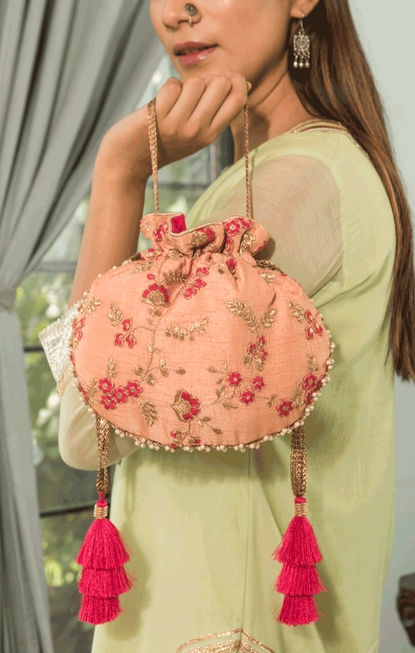 Gul Embroidered Silk Potli - Peach with pink tassels