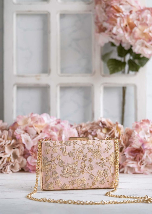 Leya Embroidered Clutch With Sling - Peachy Pink