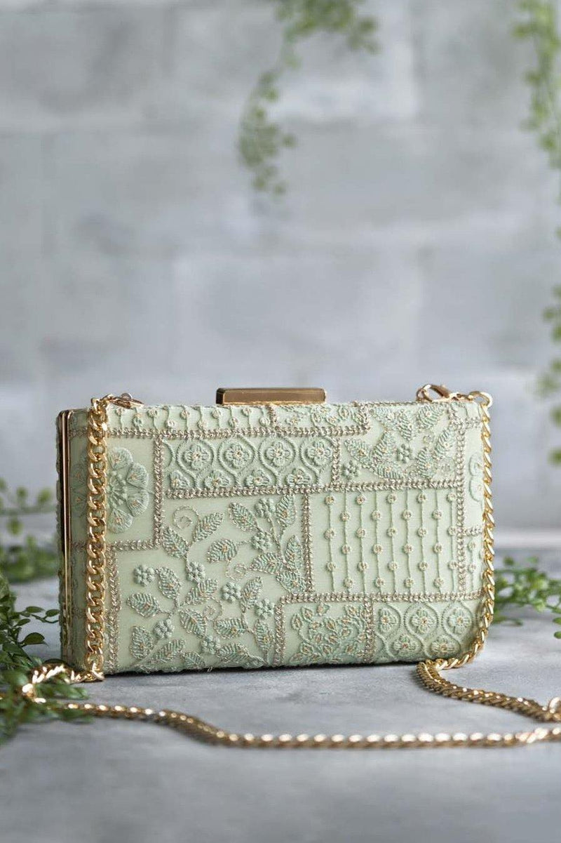 Mosaic Luxe Embroidered Clutch - Green