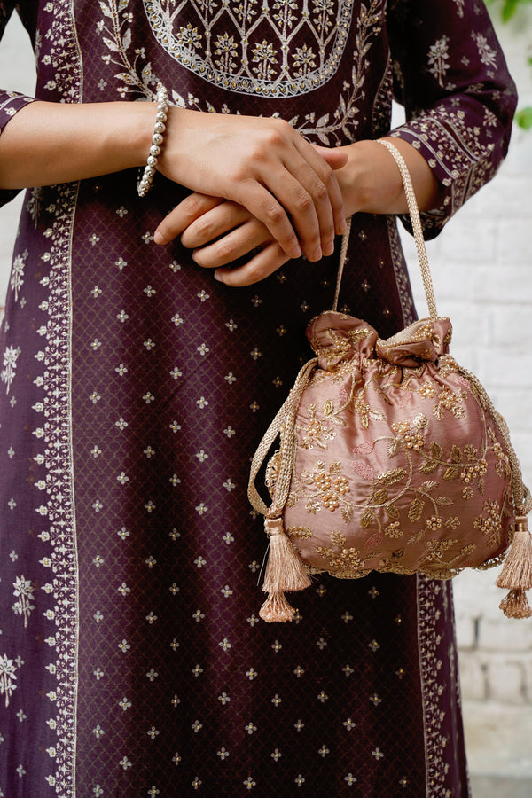 AMYRA Mauve Embroidered Pearl Potli