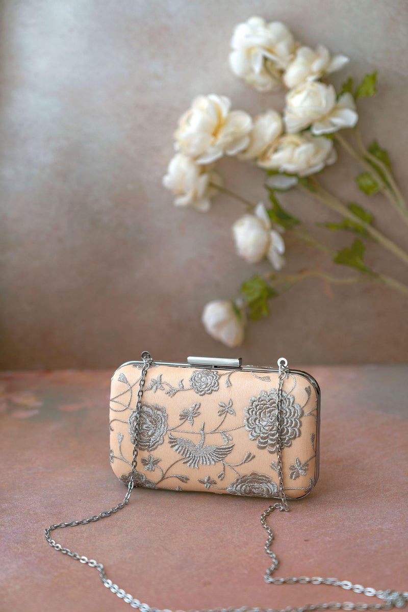 Nude & Silver embroidered box clutch - AMYRA