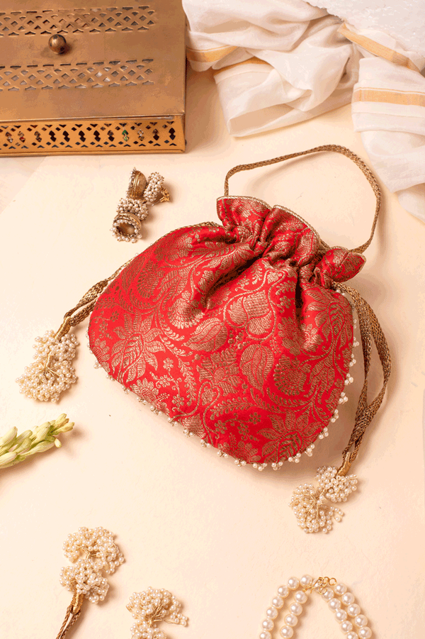 Red Pure Banarasi Pearl Potli bag - AMYRA