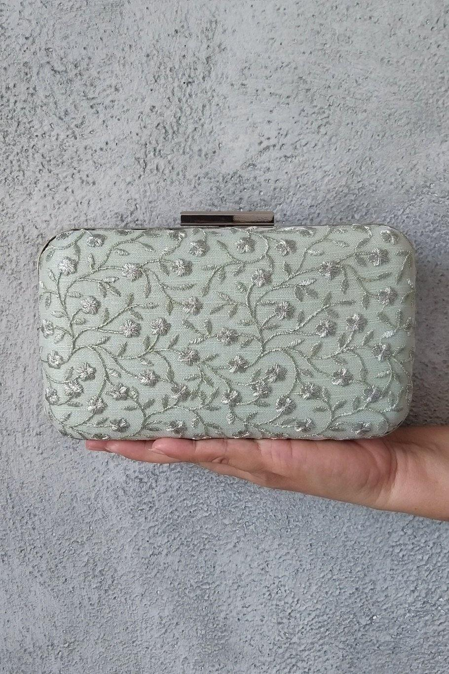 AMYRA Aralia Box Clutch - Mint And Silver