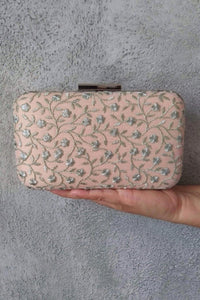 AMYRA Aralia Box Clutch - Peach And Silver
