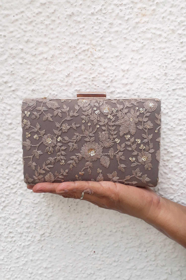 Grey embroidered box clutch