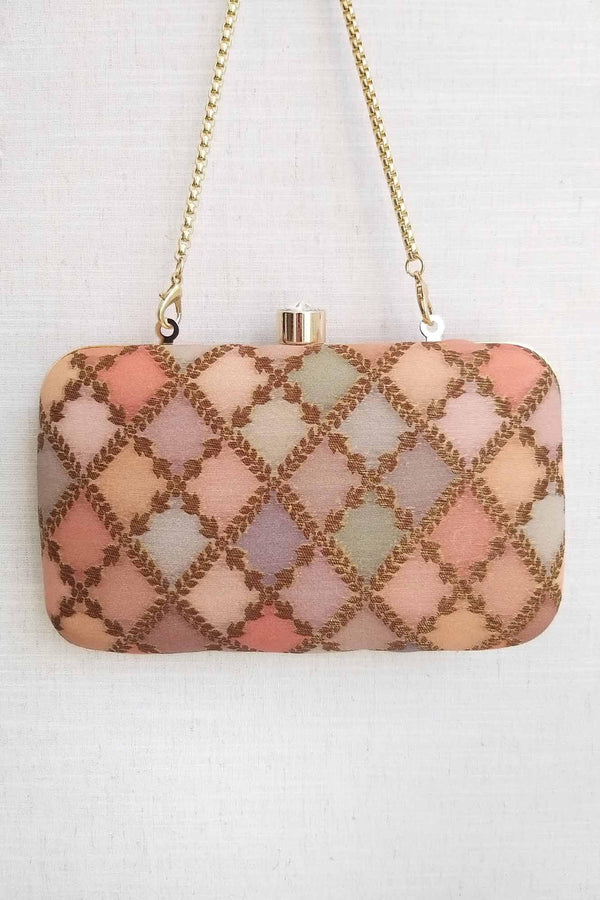 Morocco shaded pure silk banarasi clutch - Peach - AMYRA