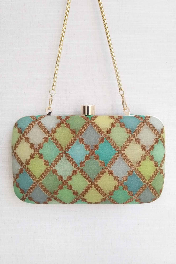 Morocco shaded pure silk banarasi clutch - Green - AMYRA