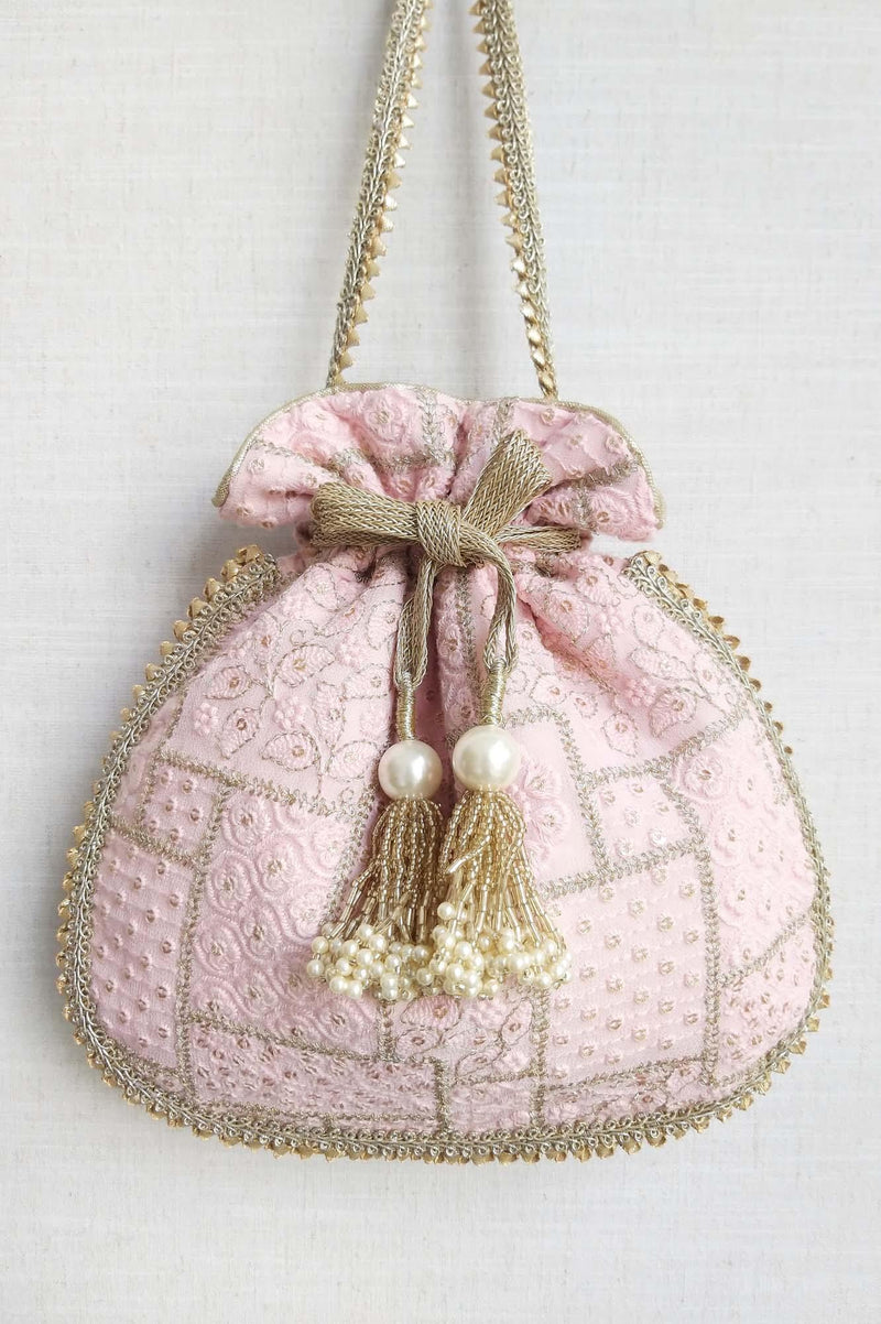 Mosaic Luxe Embroidered Potli bag - Baby Pink - AMYRA