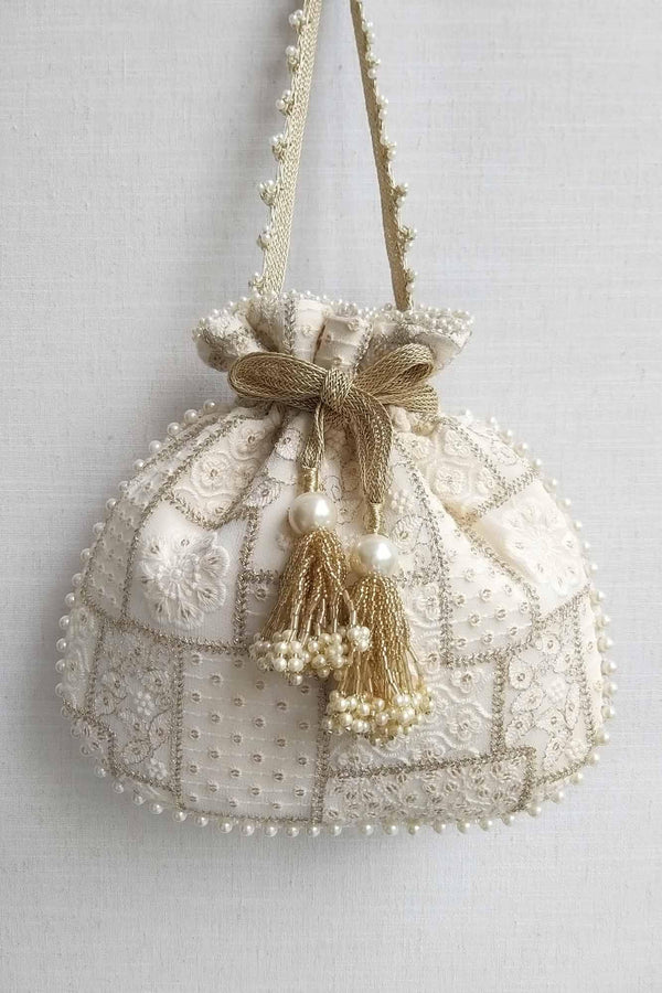 Mosaic Luxe Embroidered Potli bag - Off white - AMYRA