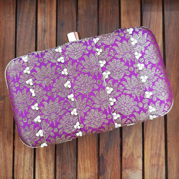 Purple Pure Banarasi Pearl Clutch - AMYRA