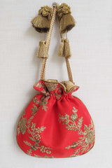 Red Embroidered Silk Potli