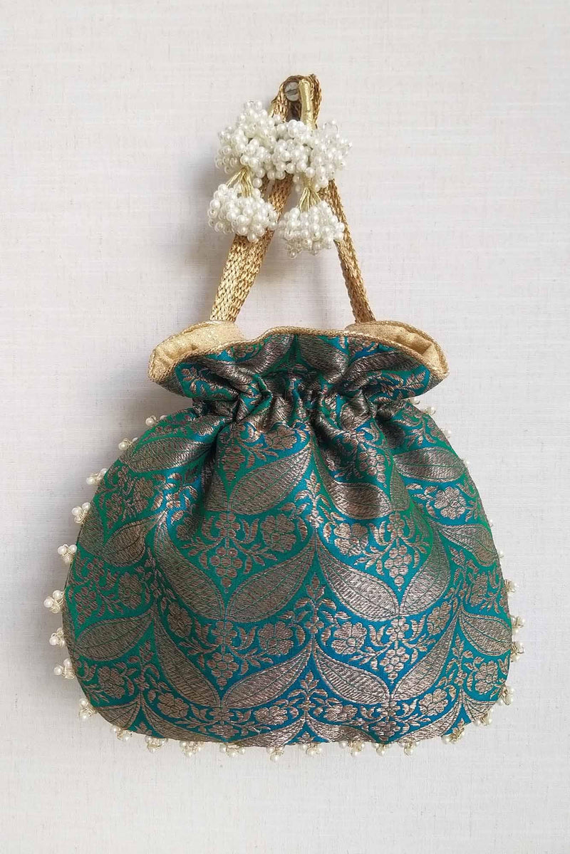 Sea Green Banarasi Potli bag - AMYRA