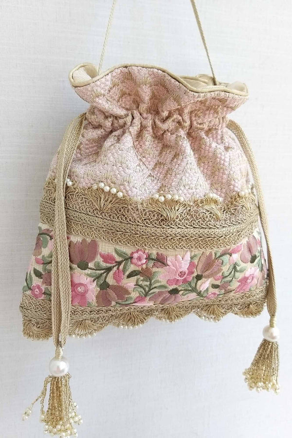 Serenade threadwork potli - baby pink