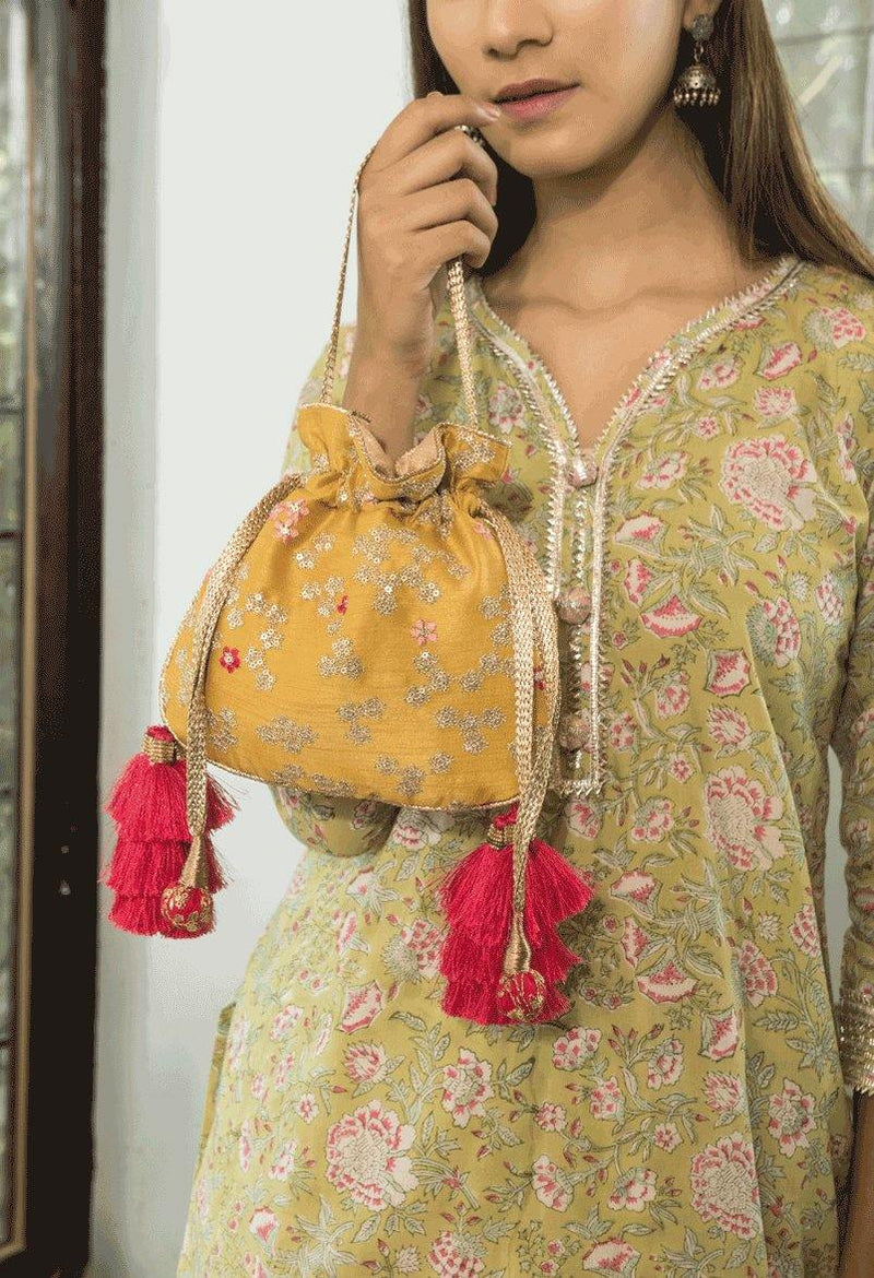 Azalea Yellow And Hot Pink Tassle Potli